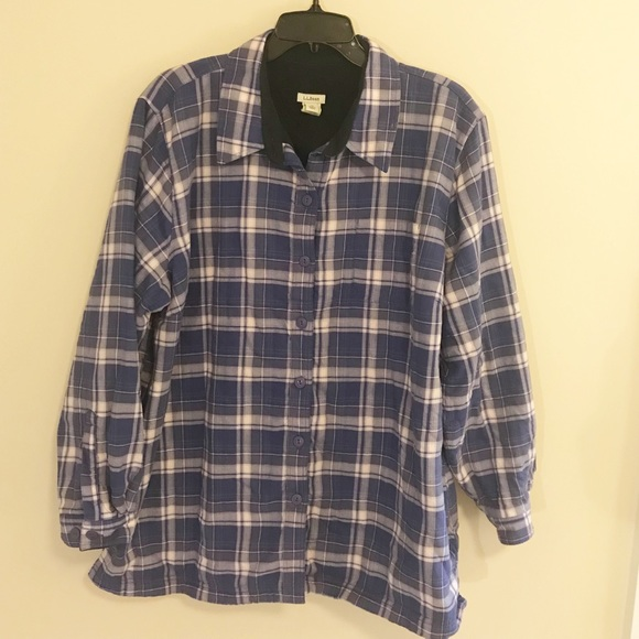 b78cf29861d08 L.L. Bean Tops - Womens LLBean 1X Fleece Lined Flannel Purple Shirt